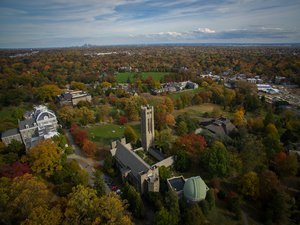 Aerial view of the Swarthmore College campus