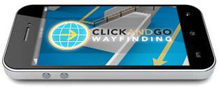 Image of an iPhone with ClickAndGo Wayfinding iOS app